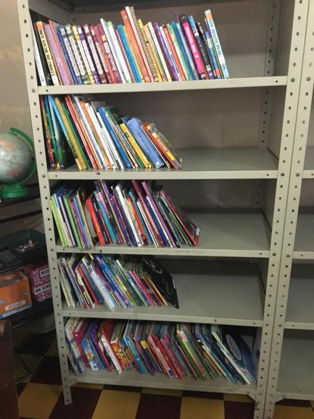 The library - with books sorted by grade level