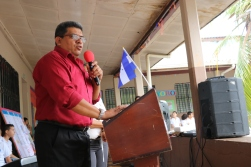 Director Jose Luis speaking at the library inauguration ceremony