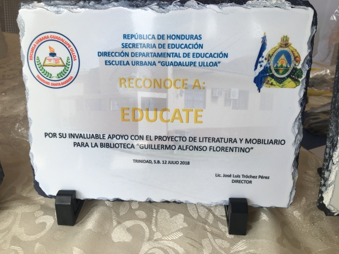 A plaque made by the Guadalupe Ulloa school